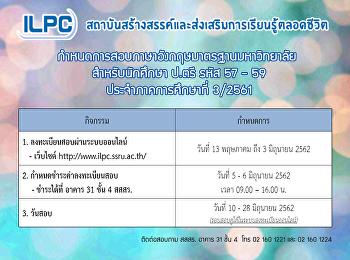 กำหนดการลงทะเบียนสอบภาษาอังกฤษมาตรฐานมหาวิทยาลัย สำหรับนักศึกษาระดับปริญญาตรี ประจำภาคเรียนที่ 3/2561