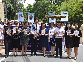 Nursing students Walk around the campus Create a Thai society, smoke free For the youth And the general public See the danger, penalty and danger of cigarettes And provide knowledge boards on the world non-smoking day